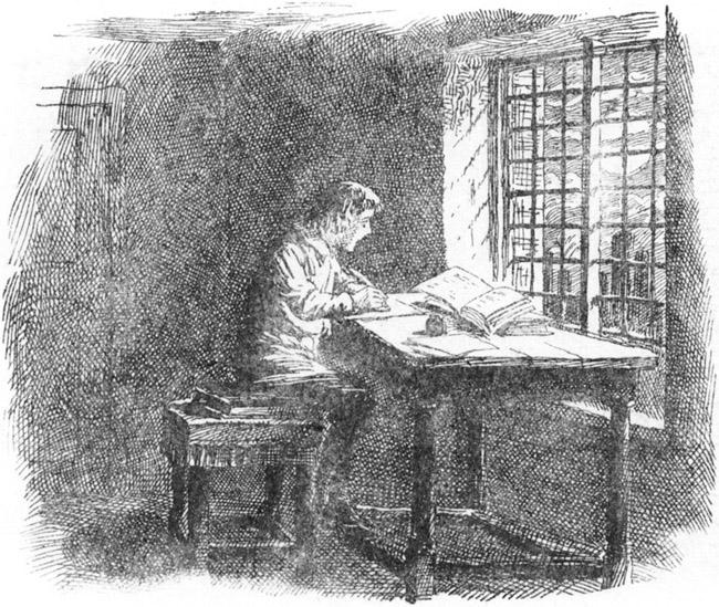 Pentekening van het kind Johann Sebastian Bach dat gezeten achter een tafeltje voor het raam in het halfduister een muziekboek overschrijft