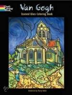 Kleurboek met zelf in te kleuren kleurplaten met glas-in-lood-effect naar schilderijen van Vincent van Gogh. Op de omslag zie je de kerk van Auvers