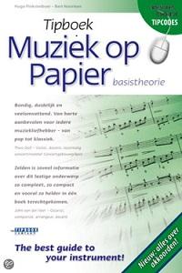 Omslag van 'Tipboek muziek op papier' van Hugo Pinksterboer en Bart Noorman. Met dit boek kun je op eenvoudige en aantrekkelijke wijze noten leren lezen en je de basis van de muziektheorie eigen maken